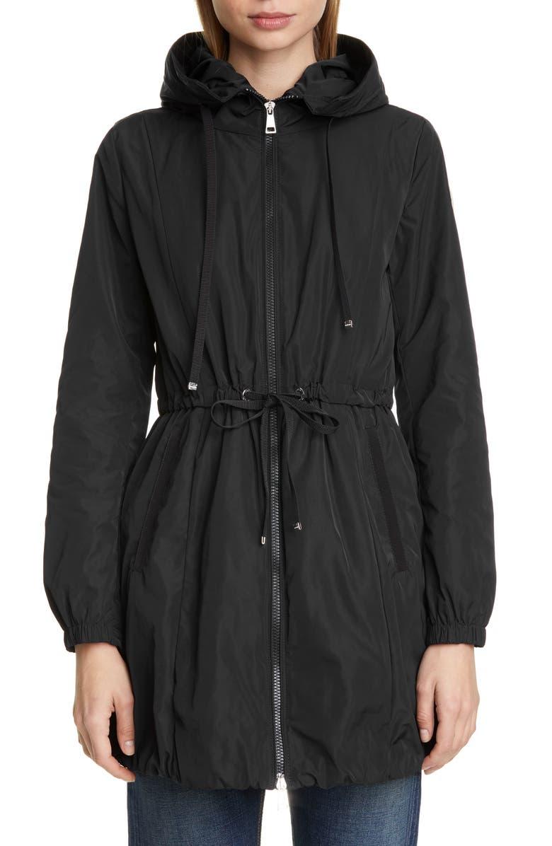MONCLER Topaz Hooded Rain Jacket, Main, color, BLACK