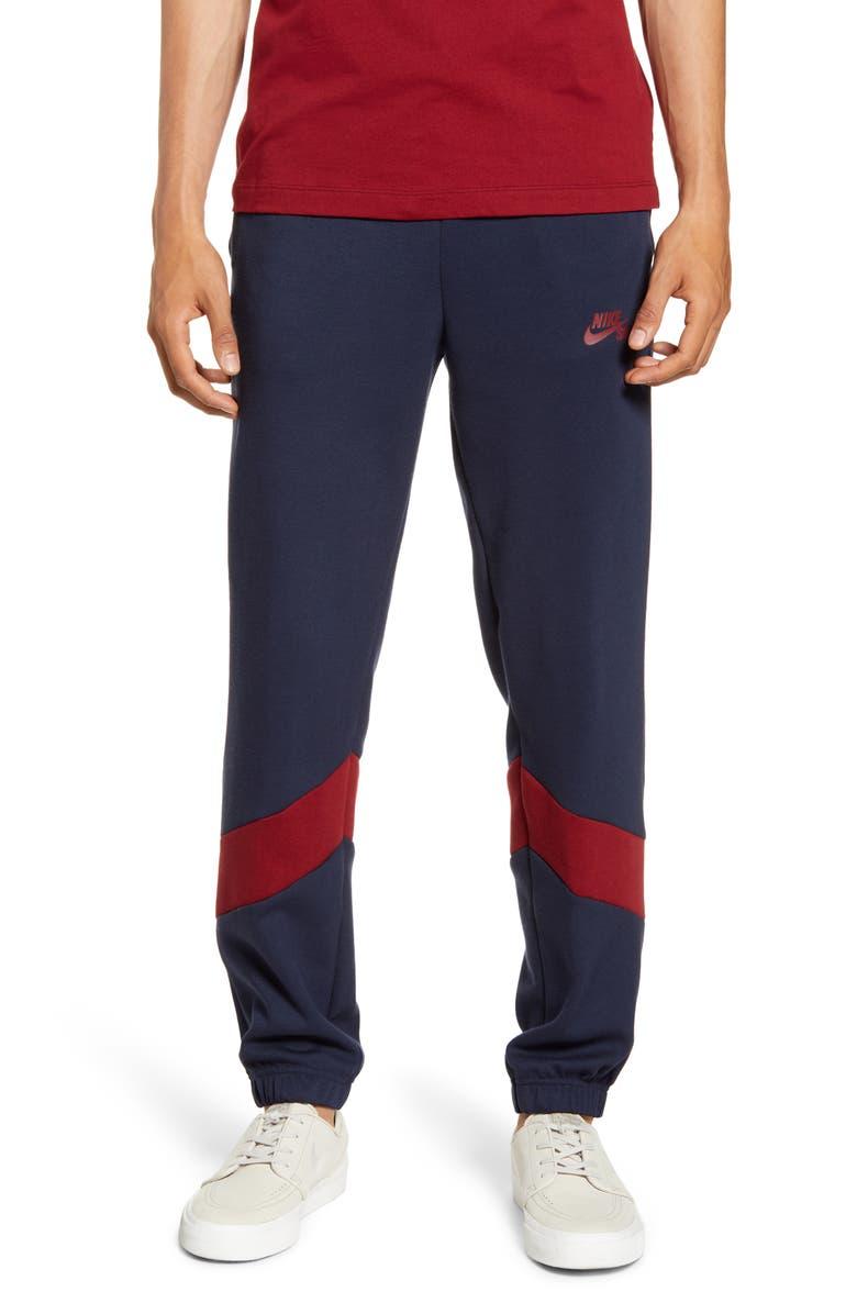NIKE SB Dri-FIT Icon Colorblock Track Pants, Main, color, OBSIDIAN/ SUMMIT WHITE/ WHITE