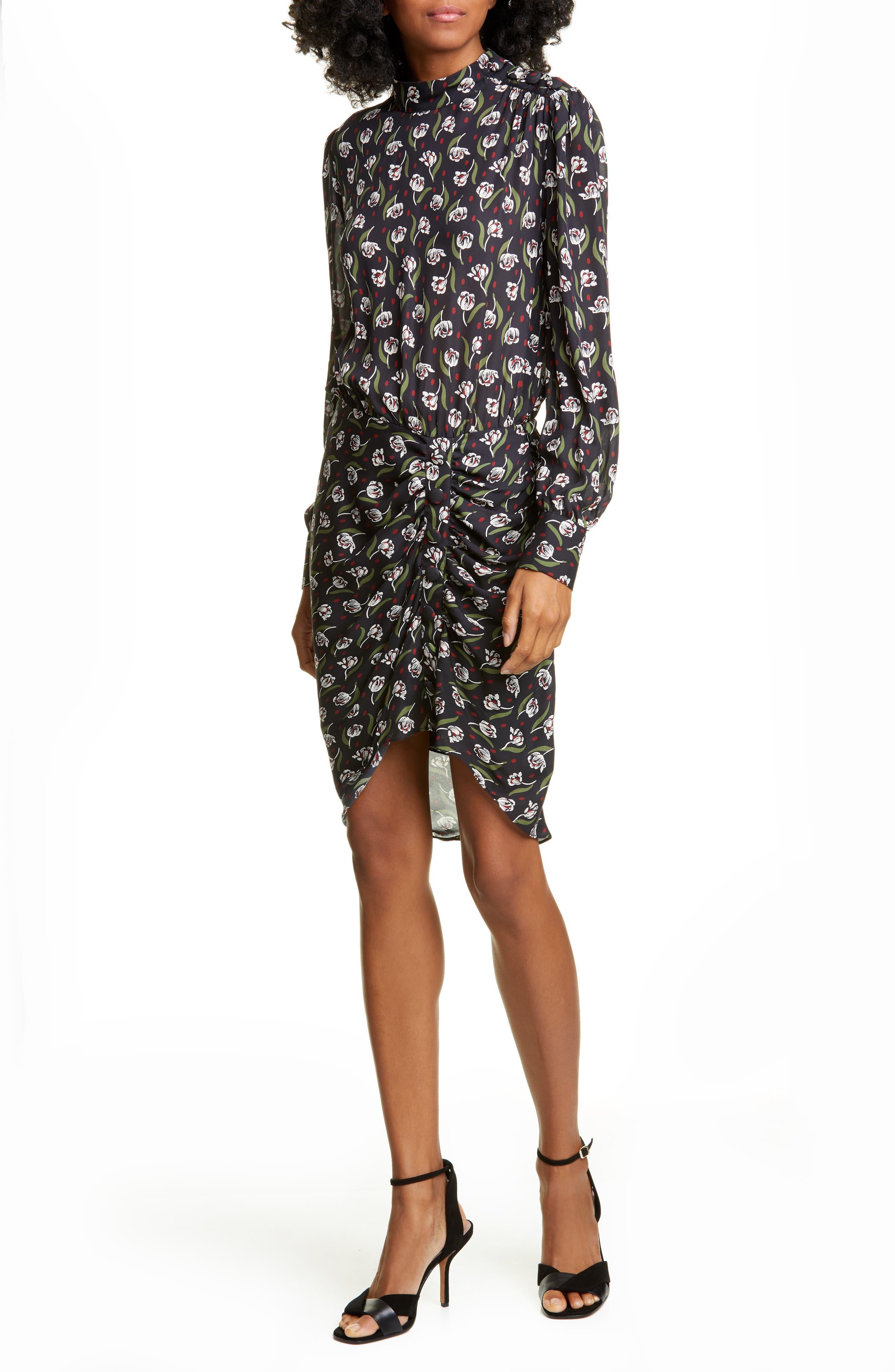 Veronica Beard Dresses Cadence Long Sleeve Stretch Silk Dress