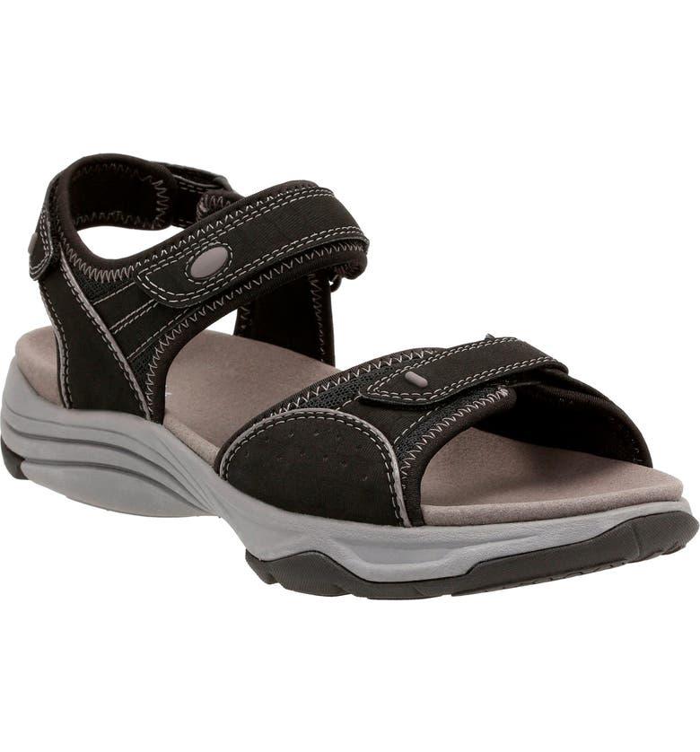 CLARKS<SUP>®</SUP> Wave Grip Sandal, Main, color, 001