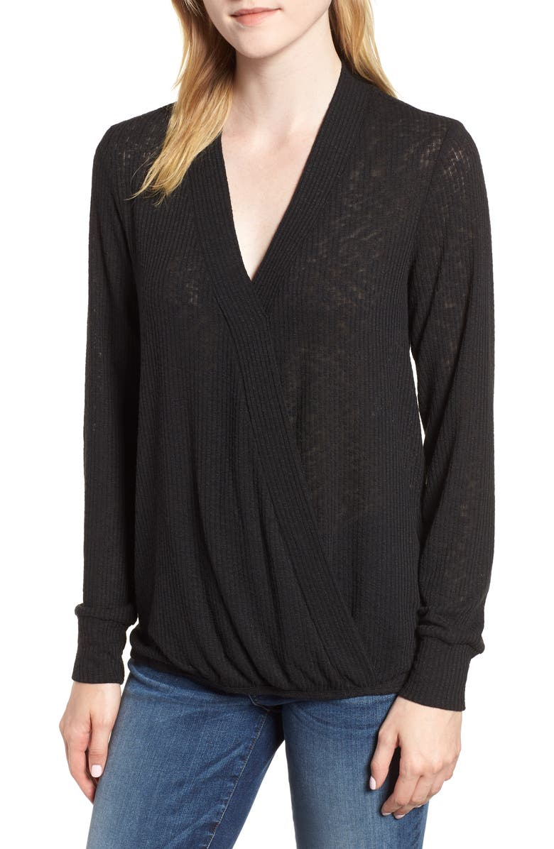 BOBEAU Faux Wrap Knit Top, Main, color, BLACK