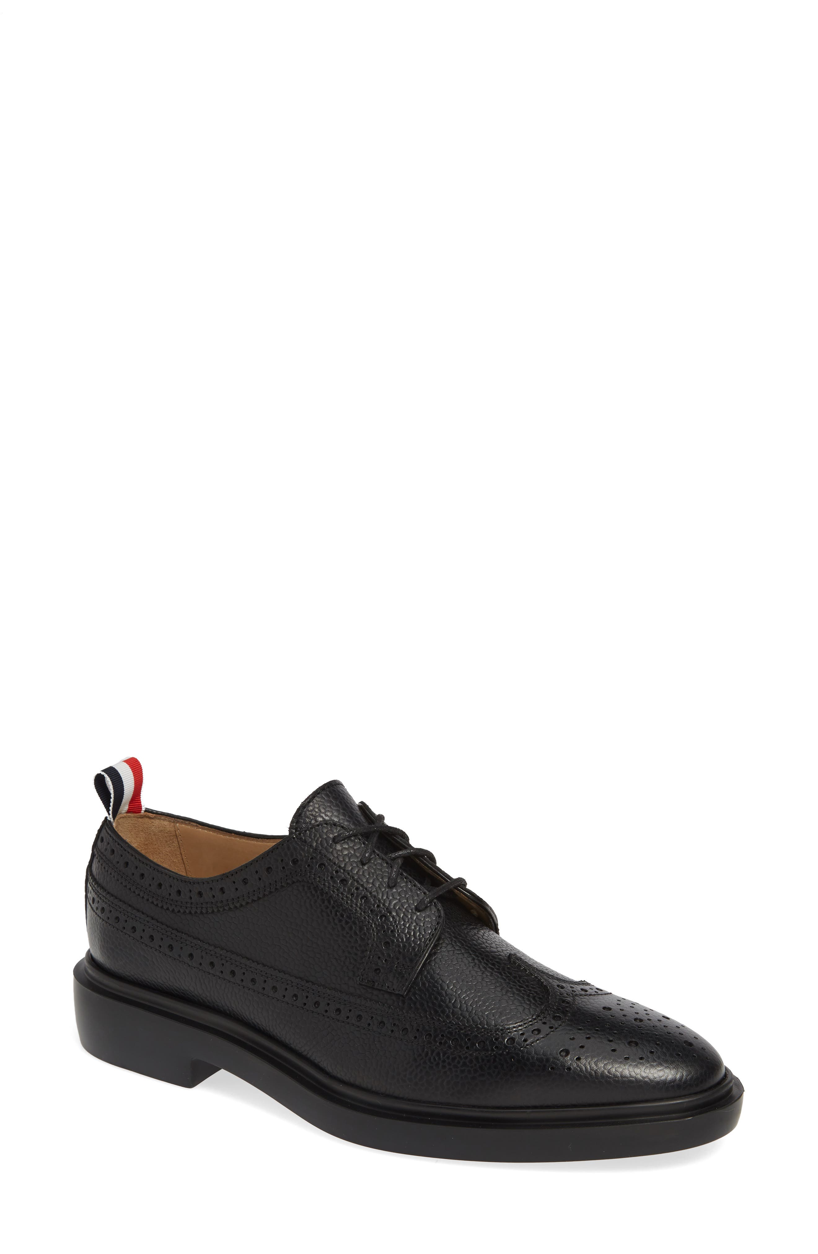 Brogue Textured Loafer, Main, color, BLACK