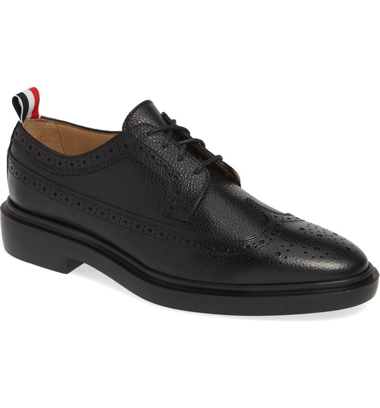 THOM BROWNE Pebbled Longwing Derby, Main, color, BLACK