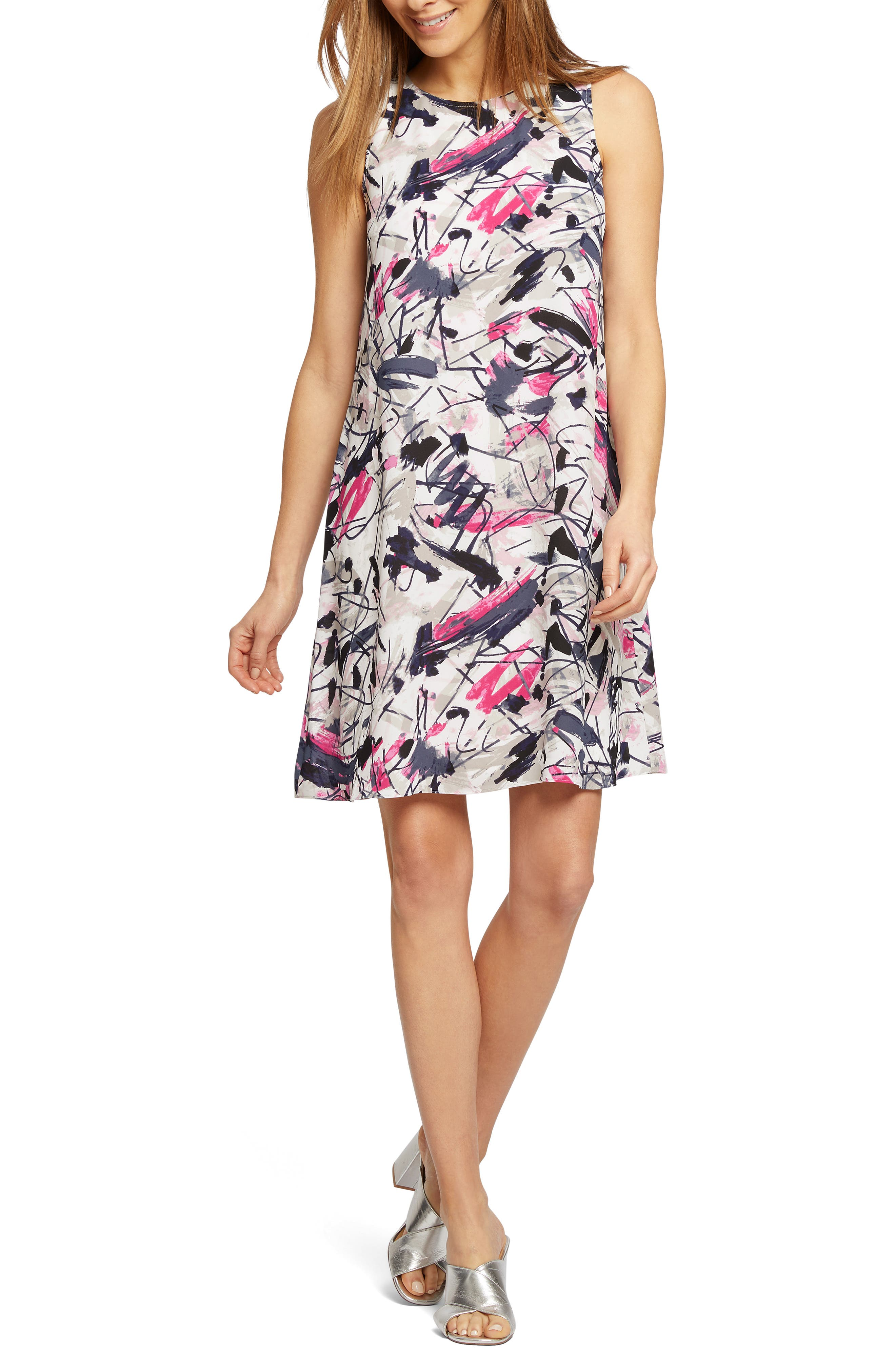 Petite Nic+Zoe Graffiti Femme Shift Dress, White