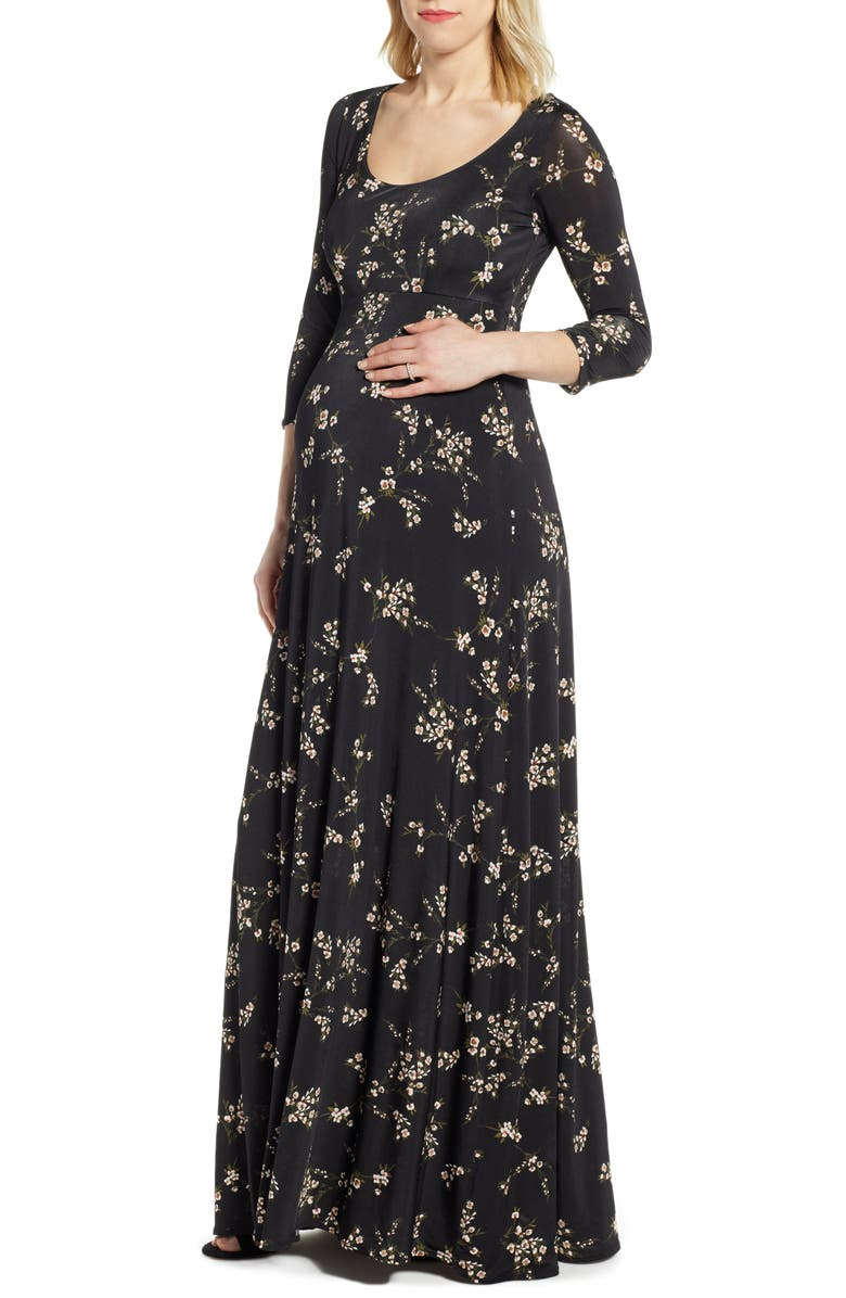 TIFFANY ROSE Samantha Maternity Maxi Dress, Main, color, BLACK