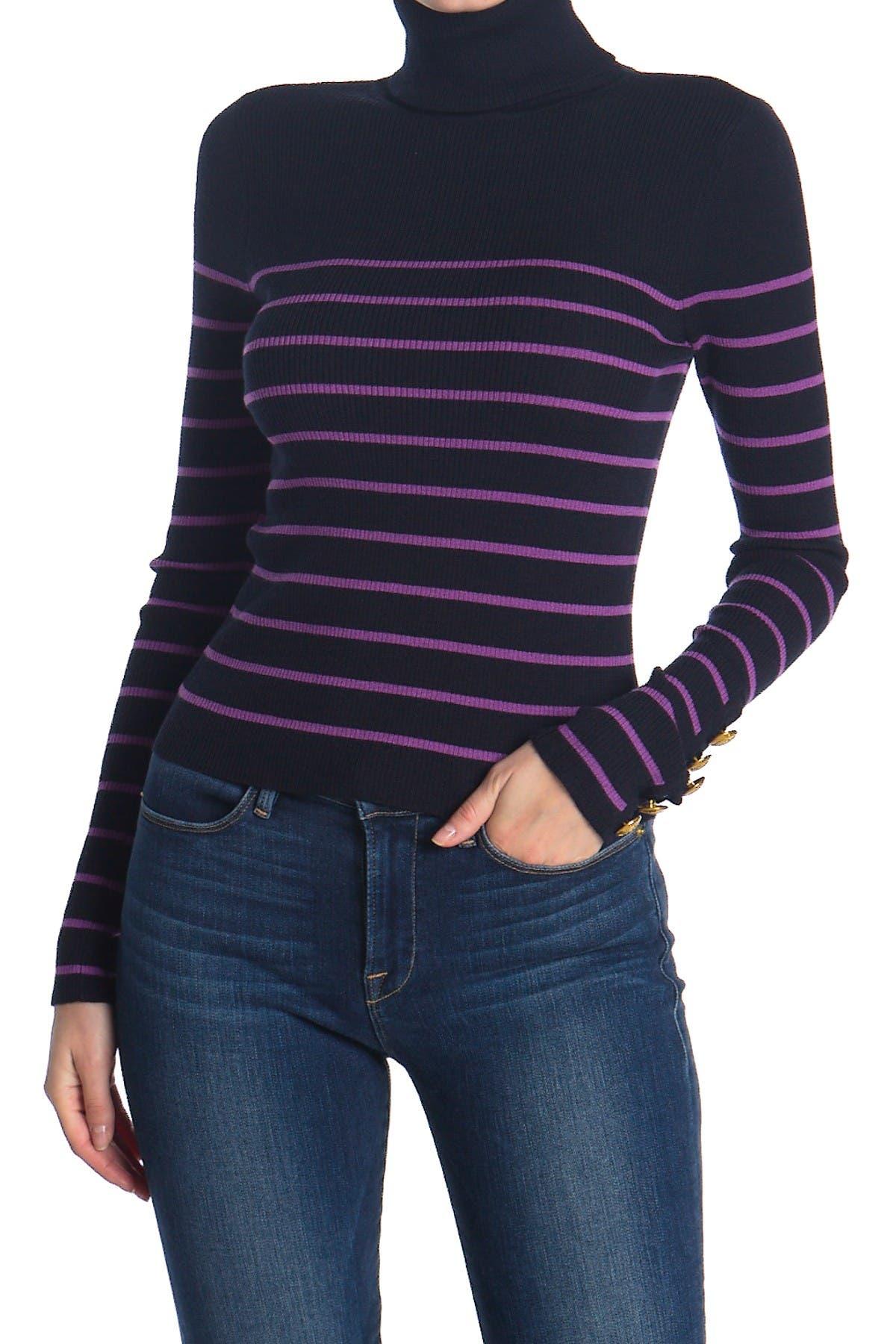 Image of A.L.C. Desi Striped Turtleneck Wool Blend Sweater