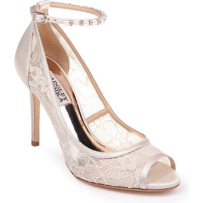 Badgley Mischka Lesley Ankle Strap Open Toe Pump- Ivory