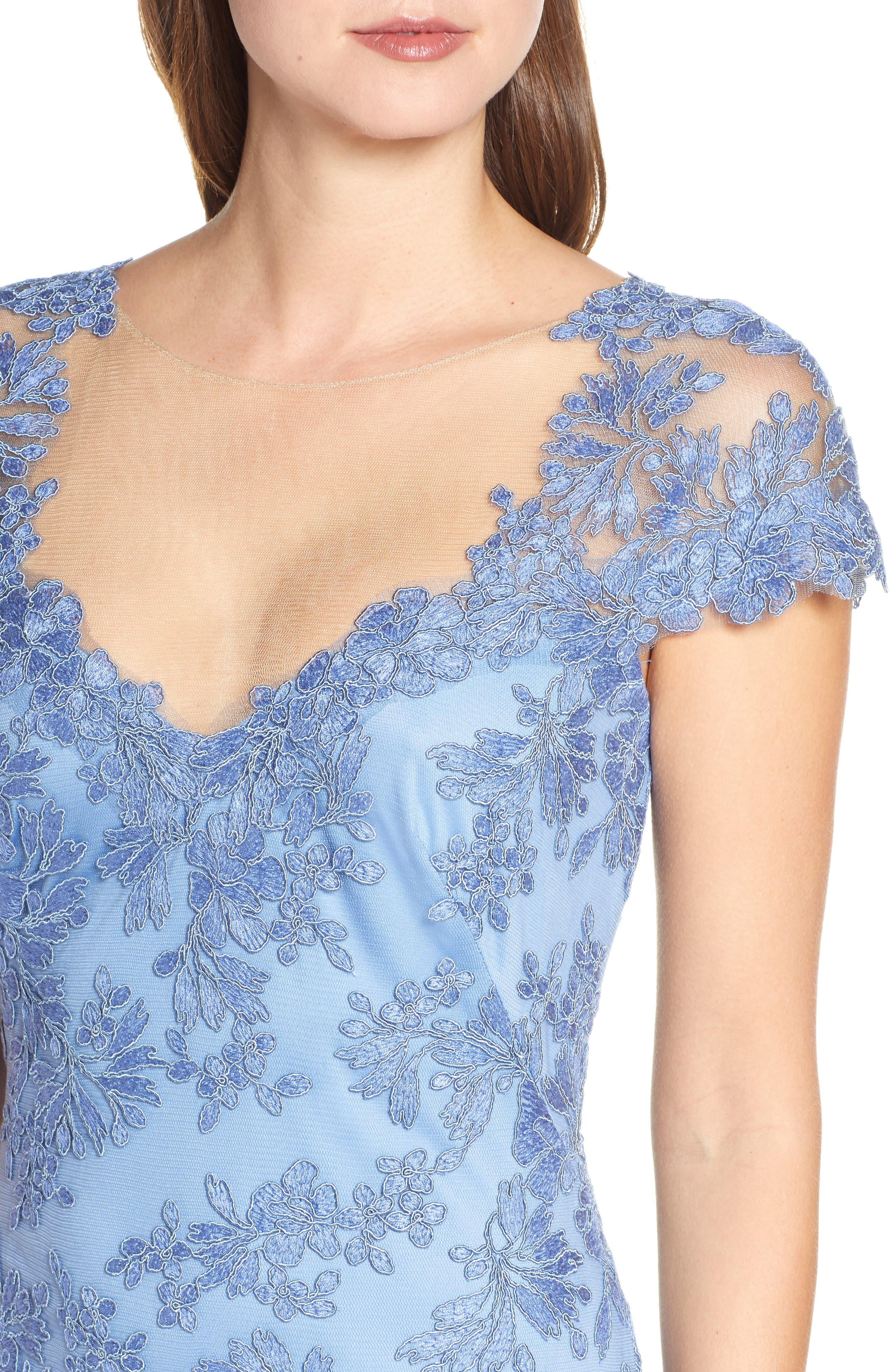 ,                             Corded Lace Sheath Dress,                             Alternate thumbnail 5, color,                             BLUE STONE