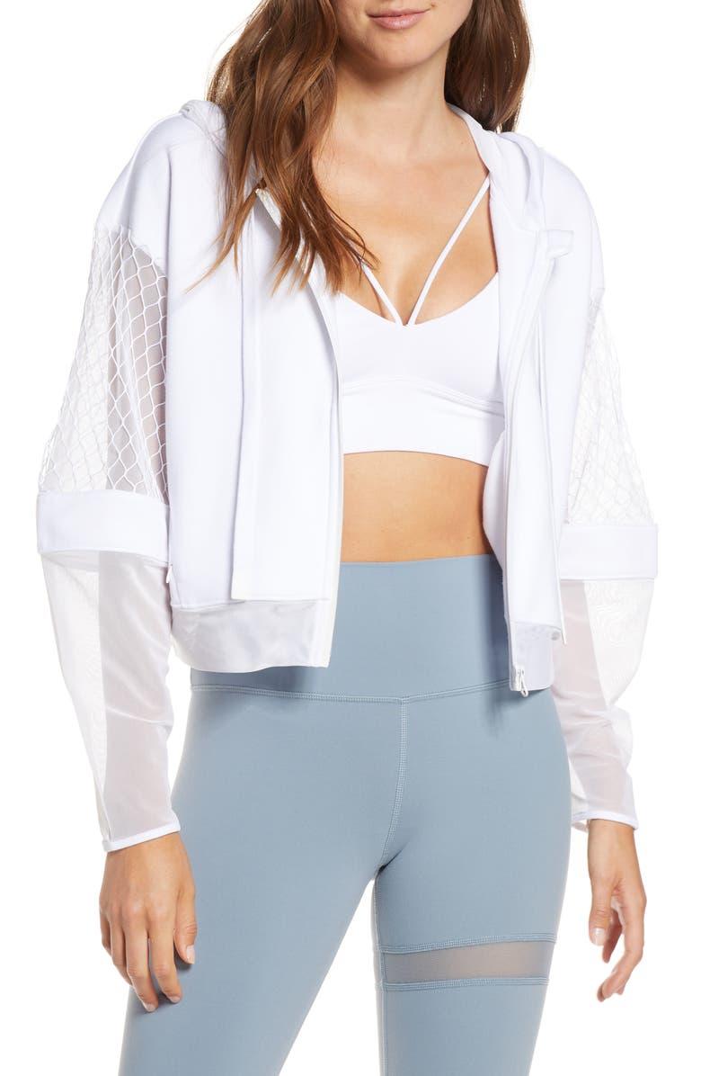 ALO Fadeaway Mesh Hooded Jacket, Main, color, WHITE