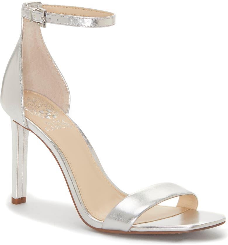 VINCE CAMUTO Lauralie Ankle Strap Sandal, Main, color, SILVER