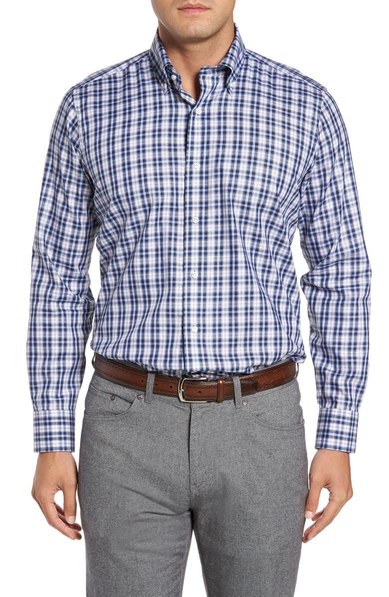 PETER MILLAR Peyto Regular Fit Plaid Sport Shirt, Main, color, 440