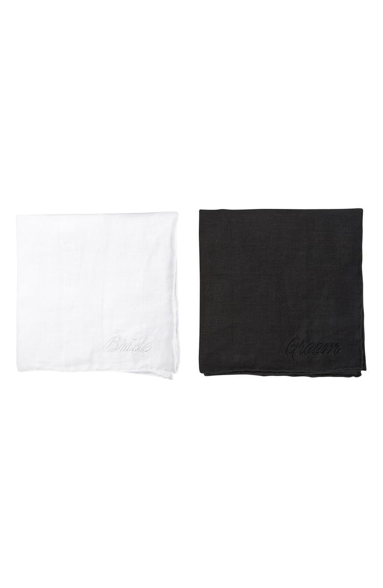 SIR MADAM Set of 2 Embroidered Bride & Groom Handkerchiefs, Main, color, FOREVER