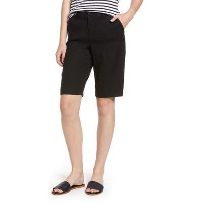 Nydj Stretch Linen Blend Bermuda Shorts, Black
