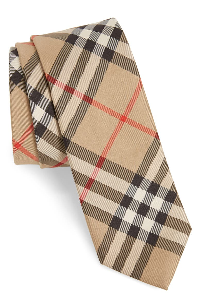 BURBERRY Manston Check Silk Tie, Main, color, 410