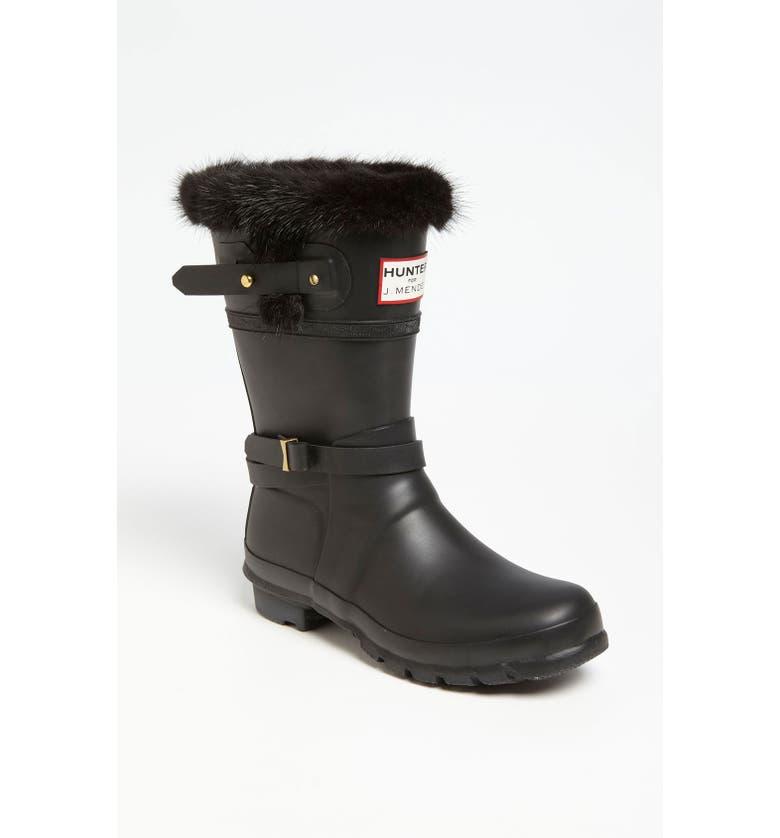HUNTER for J. Mendel Genuine Fur Trim Boot, Main, color, Black