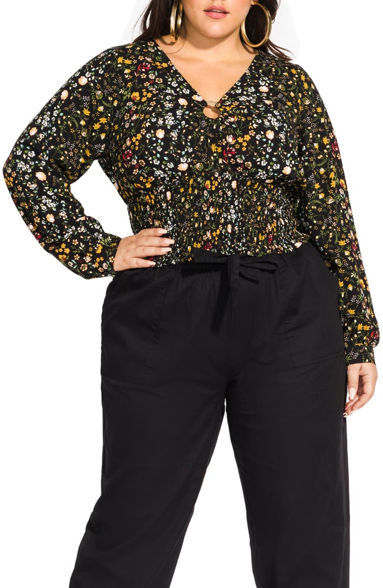 CITY CHIC Spring Floral Ditsy Smock Waist Blouse, Main, color, SPRING DITSY