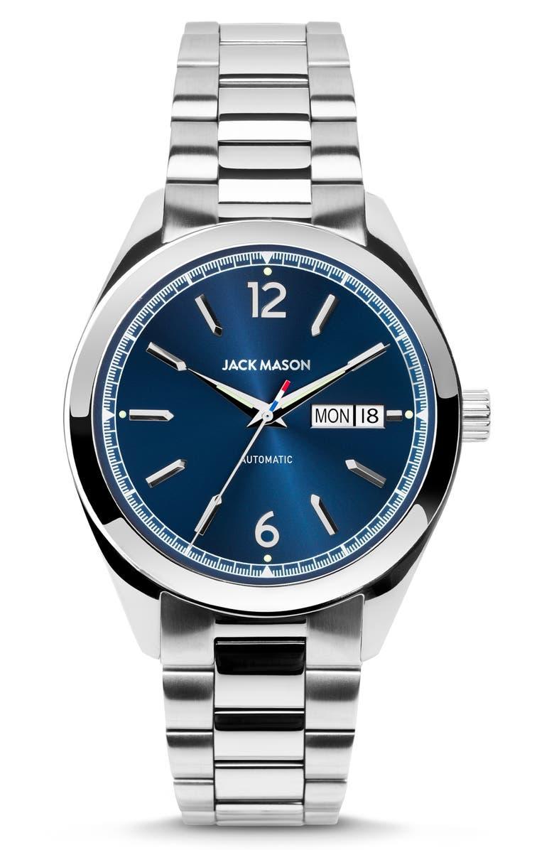 JACK MASON Canton Automatic Bracelet Watch, 40mm, Main, color, NAVY