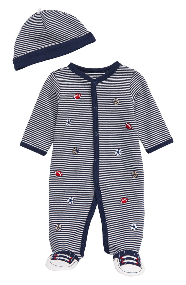 LITTLE ME Sports Stripe Footie & Hat Set, Main, color, NAVY STRIPE