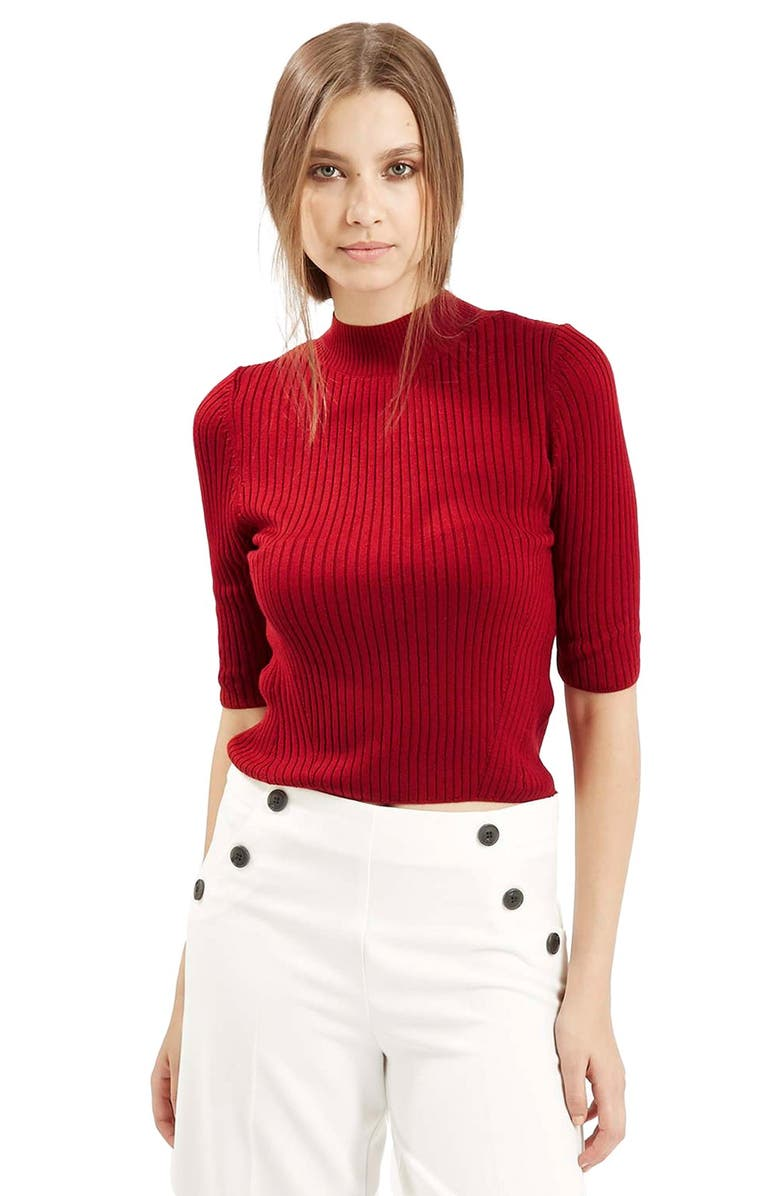 TOPSHOP Funnel Neck Ribbed Top, Main, color, 600