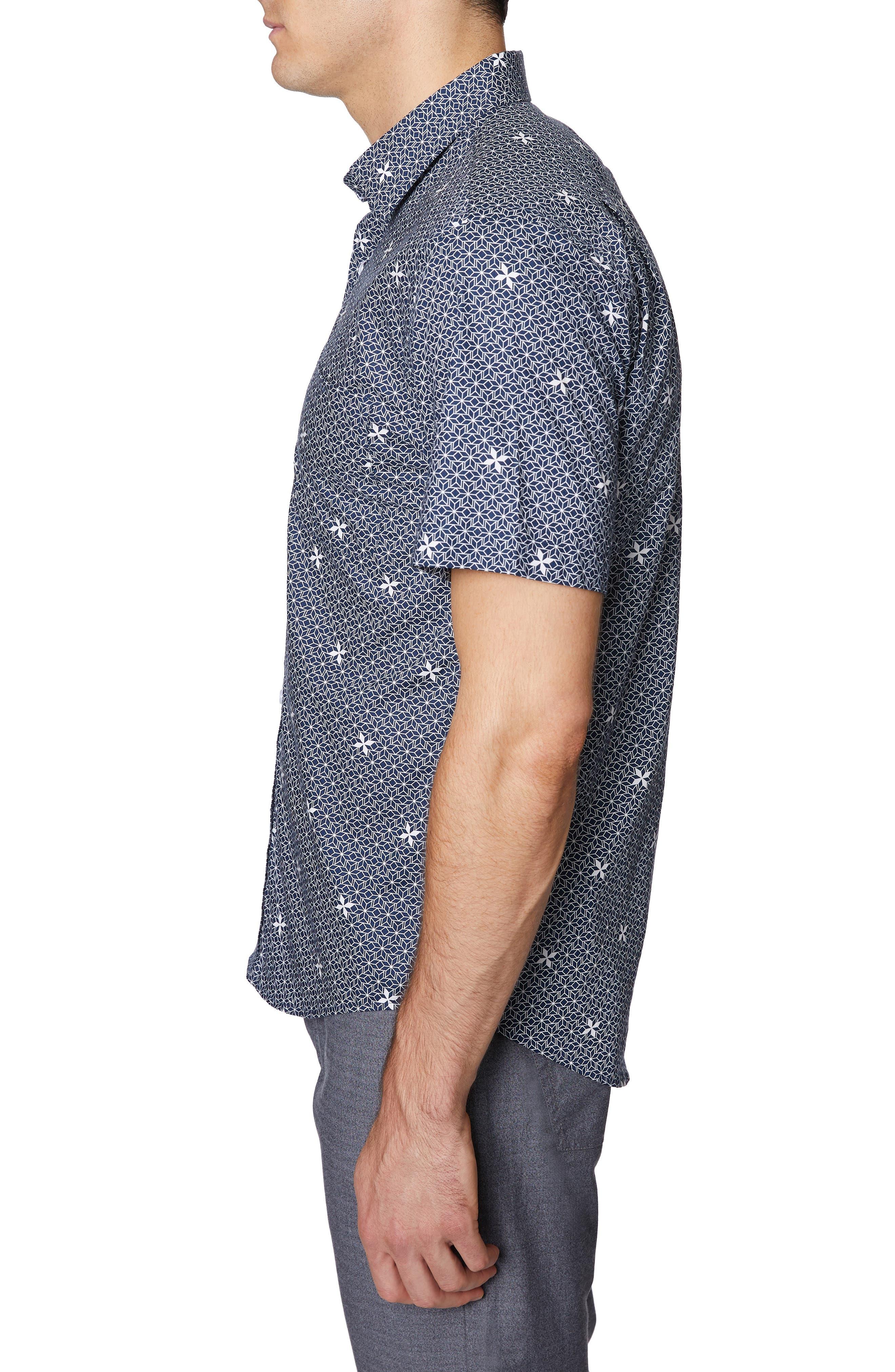,                             Print Short Sleeve Sport Shirt,                             Alternate thumbnail 4, color,                             NAVY PRINT