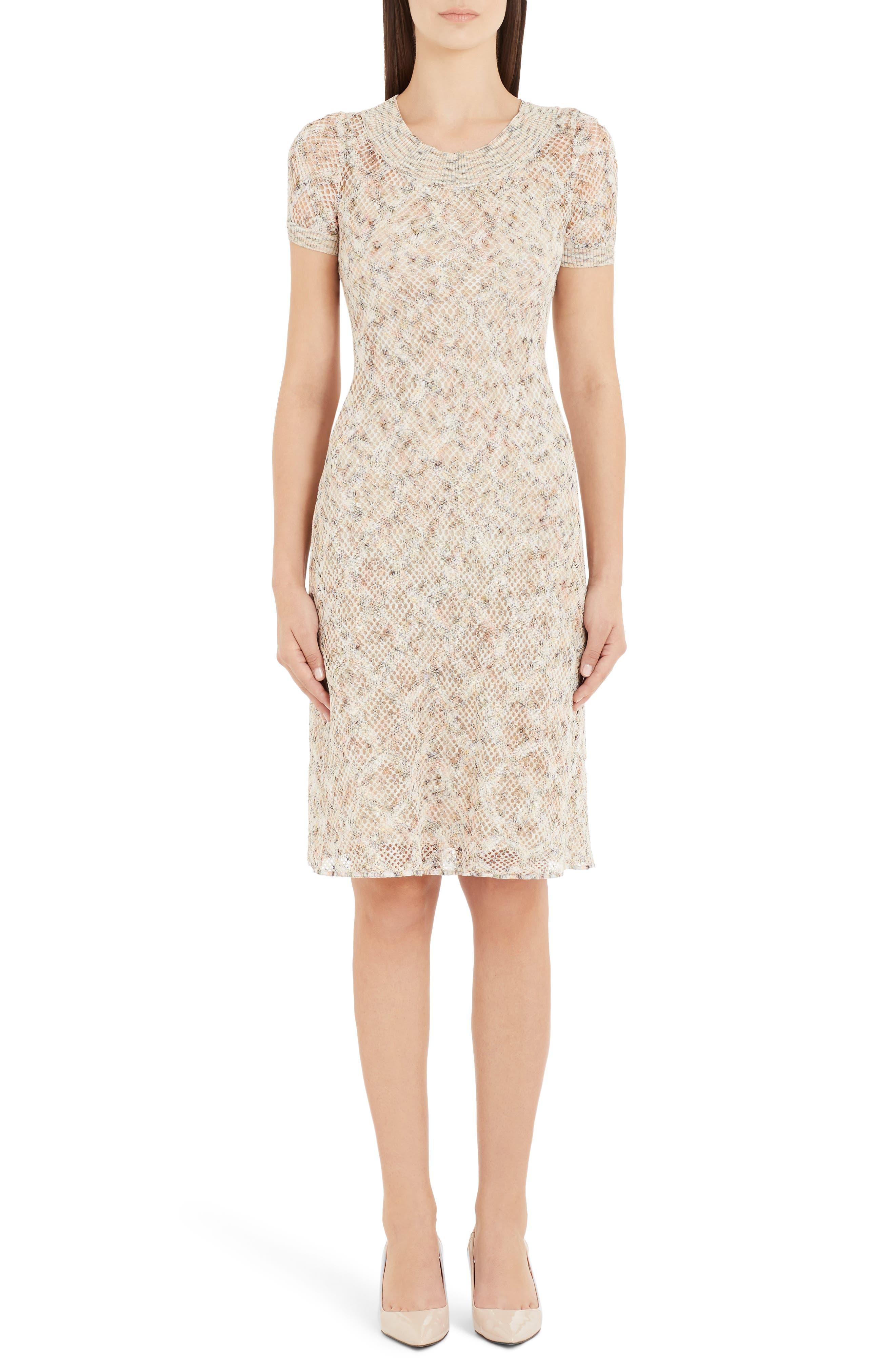 Cotton Pointelle Sweater Dress, Main, color, BEIGE
