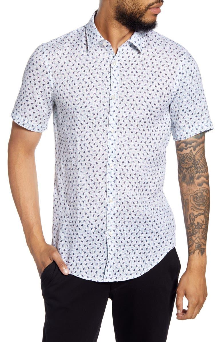 BOSS HUGO Ronn Slim Fit Short Sleeve Linen Button-Up Shirt, Main, color, WHITE