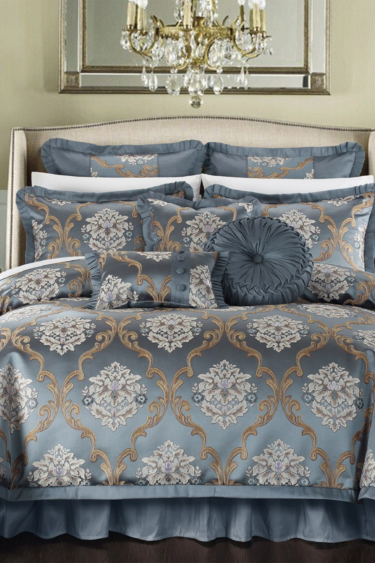 Chic Home Bedding Queen Marchesi Decorator Upholstery Quality Jacquard Scroll Fabric Complete Master Bedroom Comforter 9 Piece Set Blue Nordstrom Rack