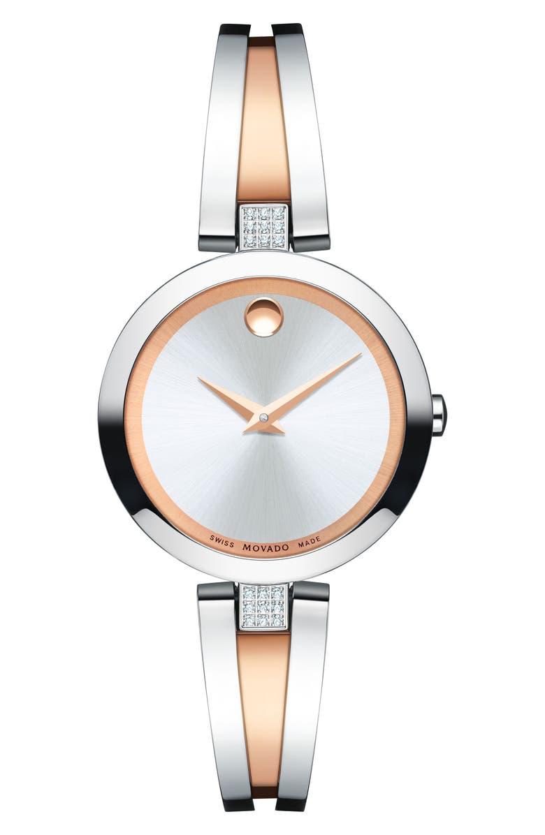 MOVADO Aleena Diamond Bangle Watch, 27mm, Main, color, SILVER/ ROSE GOLD