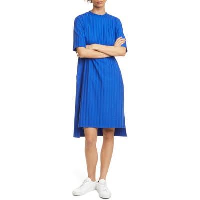 Petite Eileen Fisher Texture Stripe T-Shirt Dress, Blue