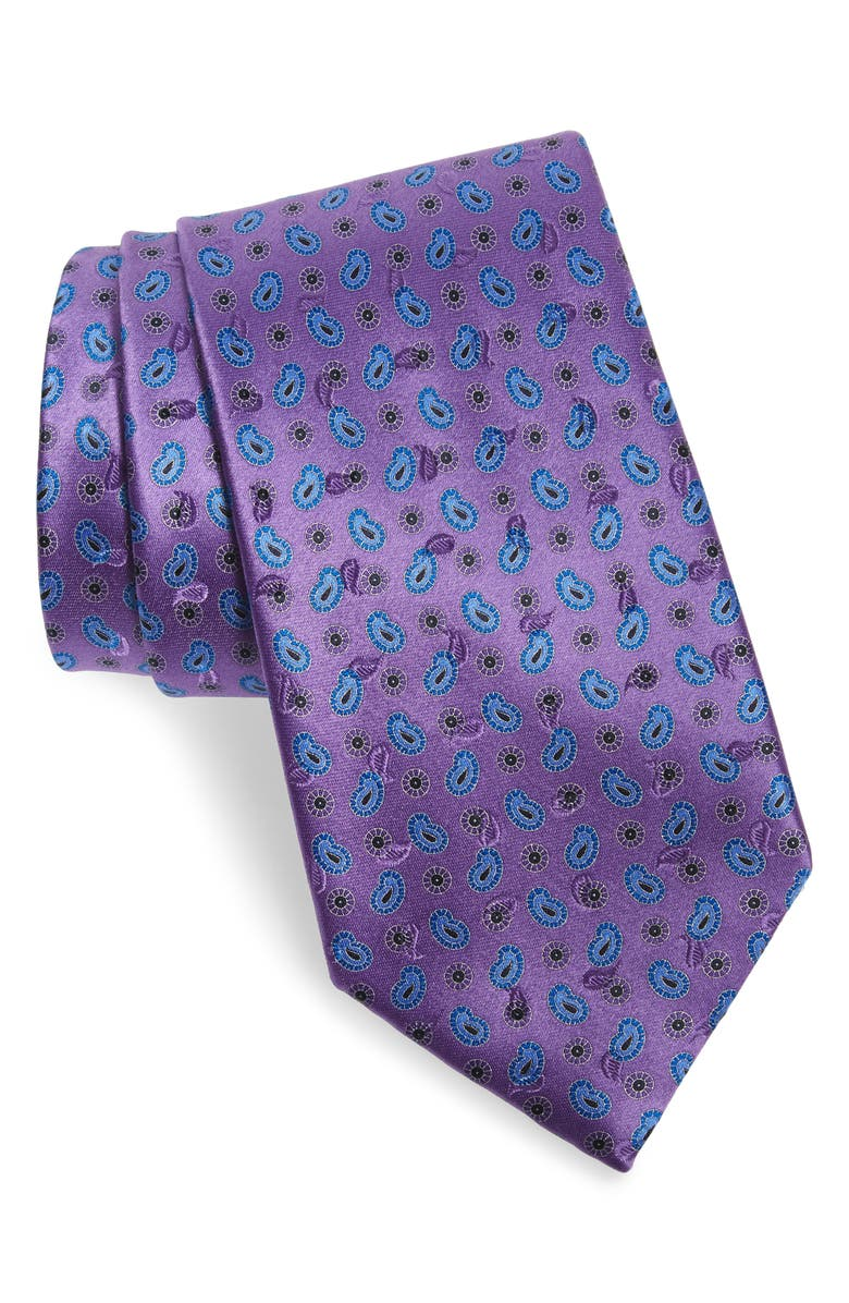ERMENEGILDO ZEGNA Paisley Silk Tie, Main, color, PURPLE