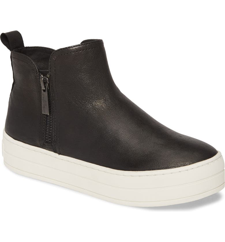 JSLIDES Cindy High Top Sneaker, Main, color, BLACK LEATHER