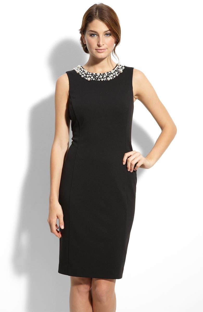 CALVIN KLEIN Pearl Trim Ponte Knit Sheath Dress, Main, color, Black