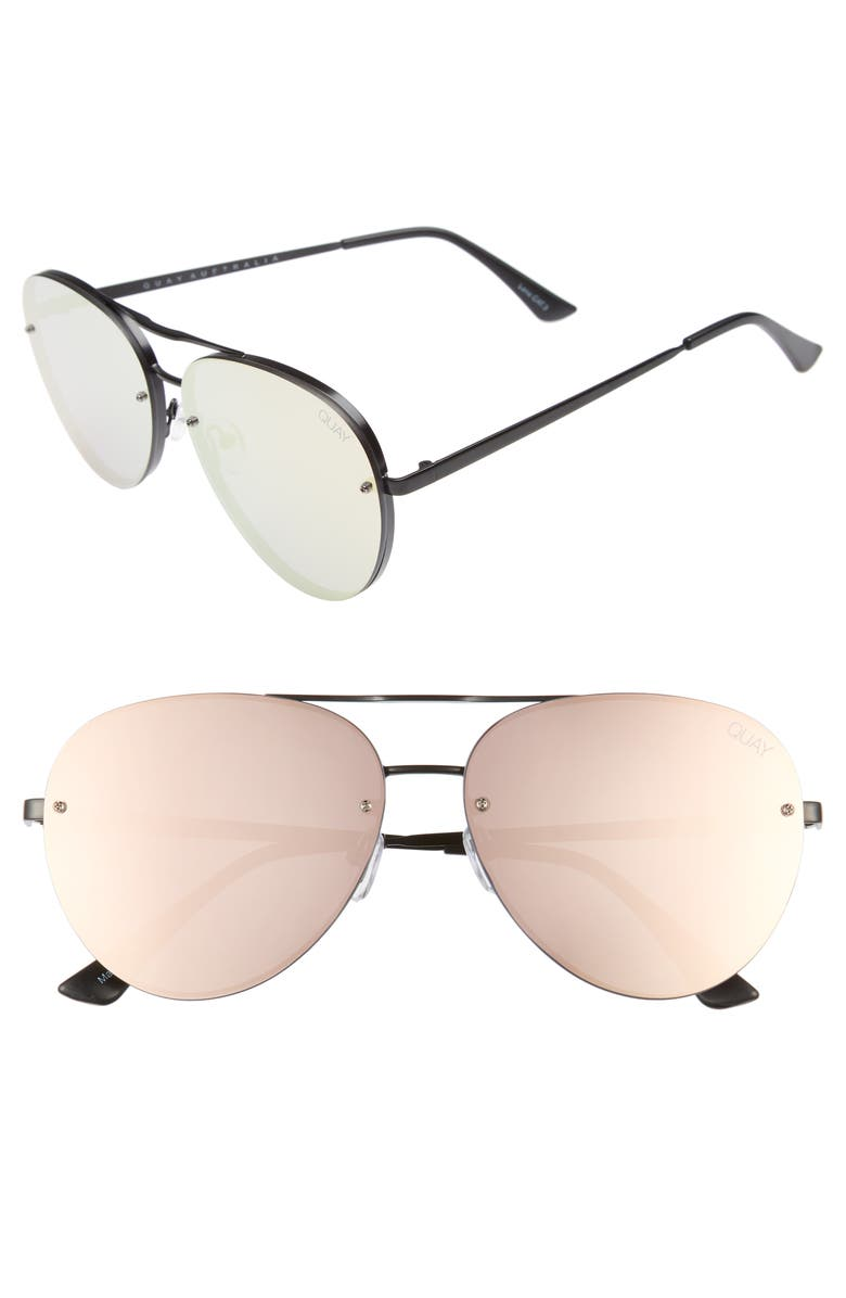 QUAY AUSTRALIA x Missguided Cool Innit 56mm Aviator Sunglasses, Main, color, 001