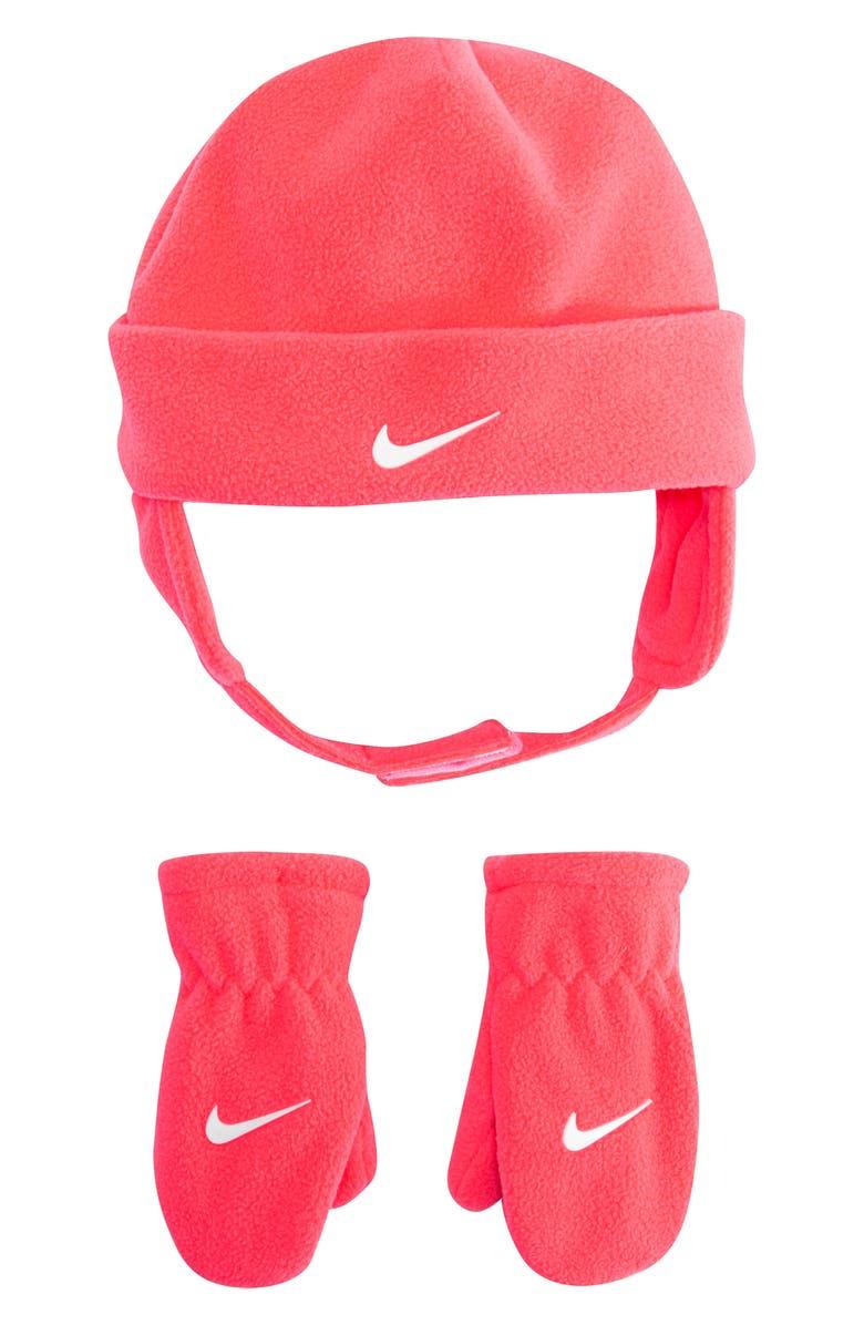NIKE Swoosh Trapper Hat & Mittens Set, Main, color, RACER PINK