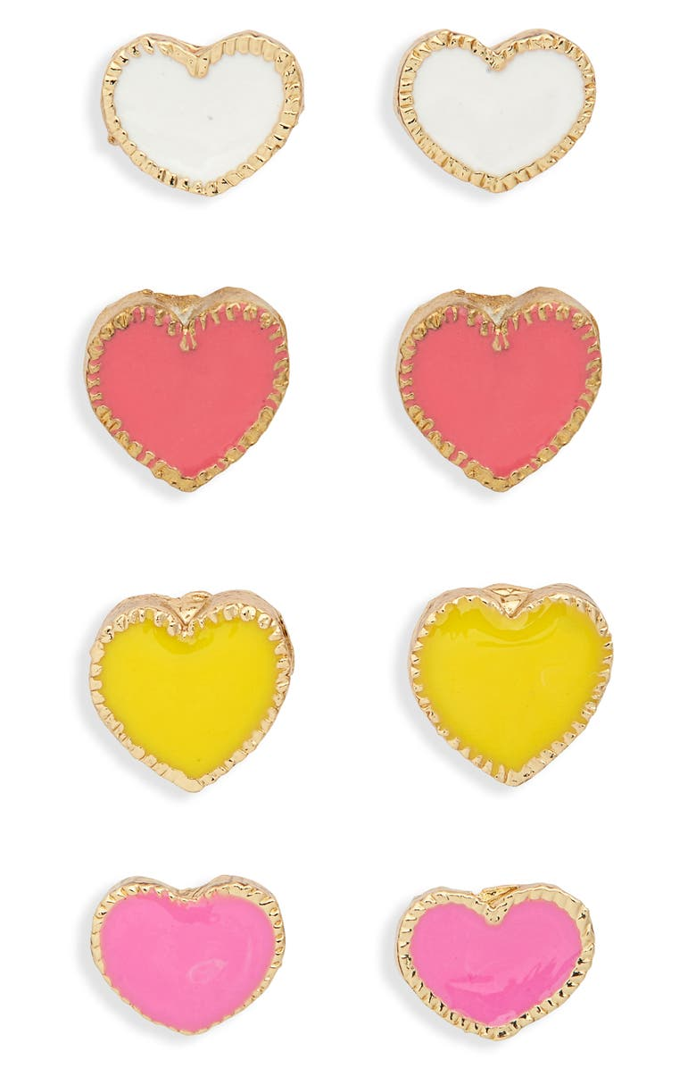 CARA 4-Pack Enamel Heart Stud Earrings, Main, color, MULTI