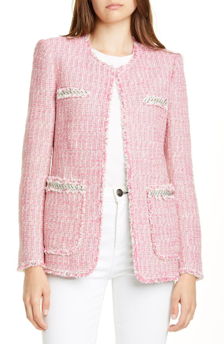 REBECCA TAYLOR Silk Tweed Jacket, Main, color, PINK