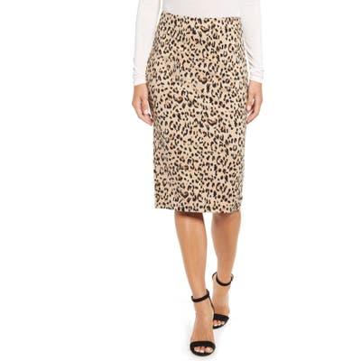 Press Animal Print Jacquard Pencil Skirt, Brown