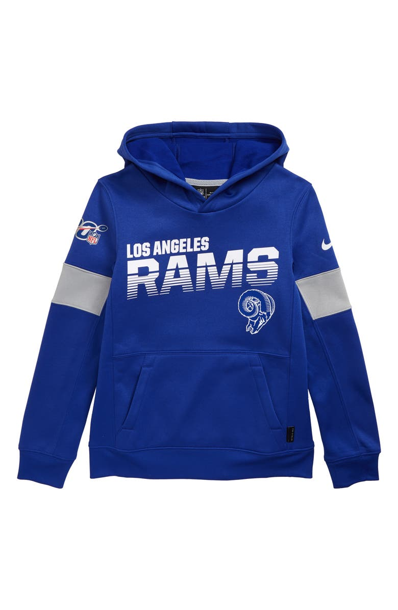 finest selection c577d 71776 Nike NFL Logo Los Angeles Rams Therma Hoodie (Big Boys ...