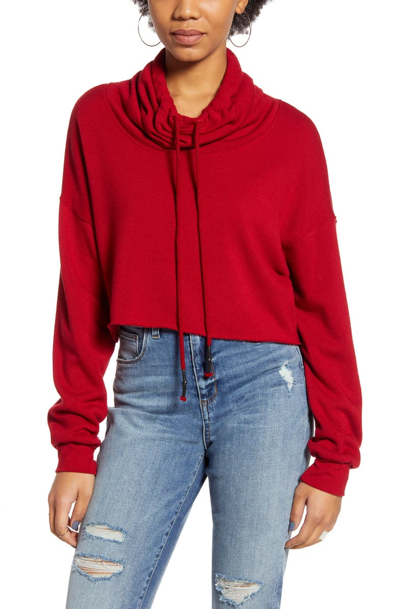 PROJECT SOCIAL T Cowl Neck Pullover, Main, color, DARK RED