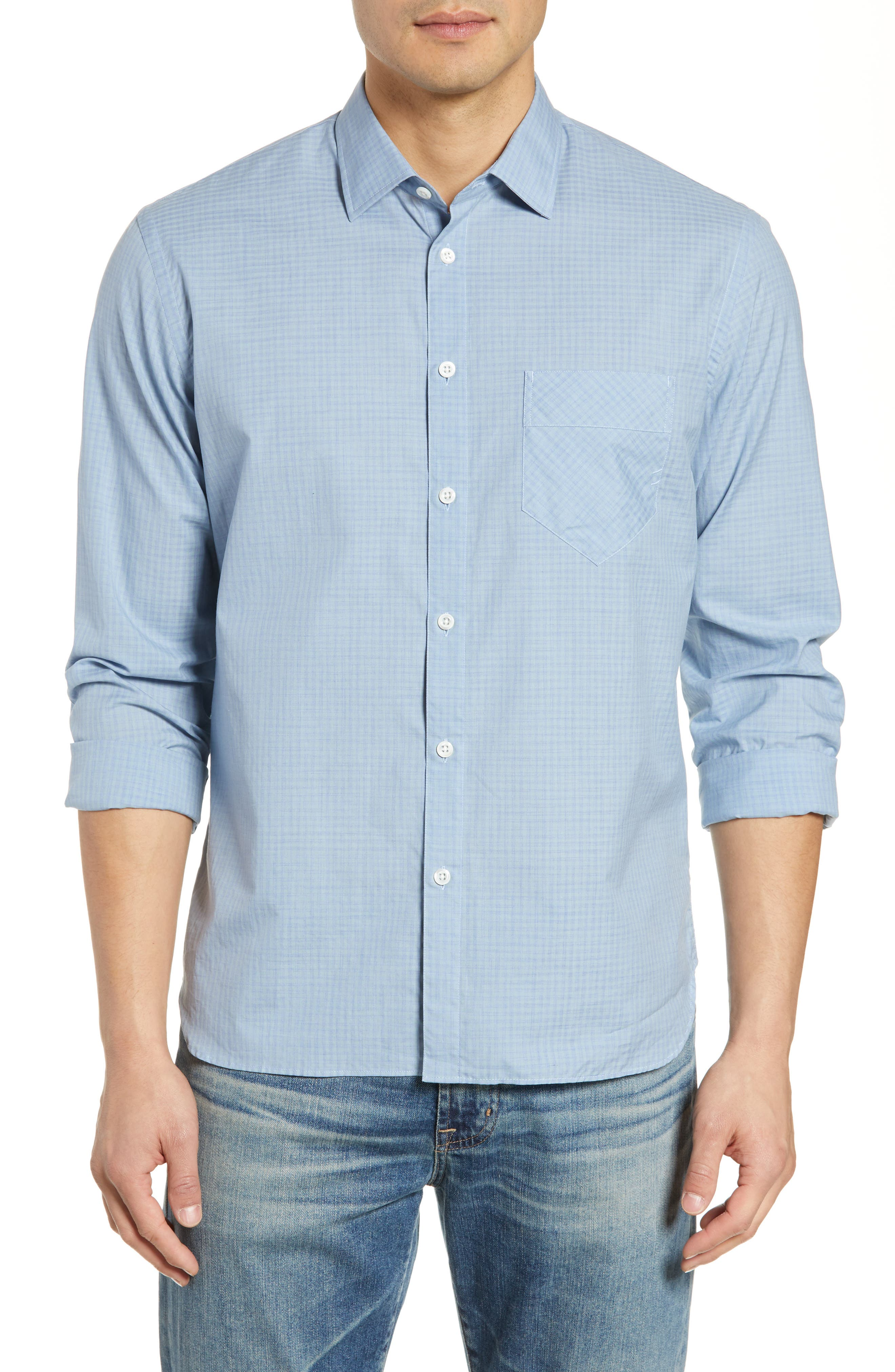 John T Standard Fit Check Sport Shirt, Main, color, BLUE