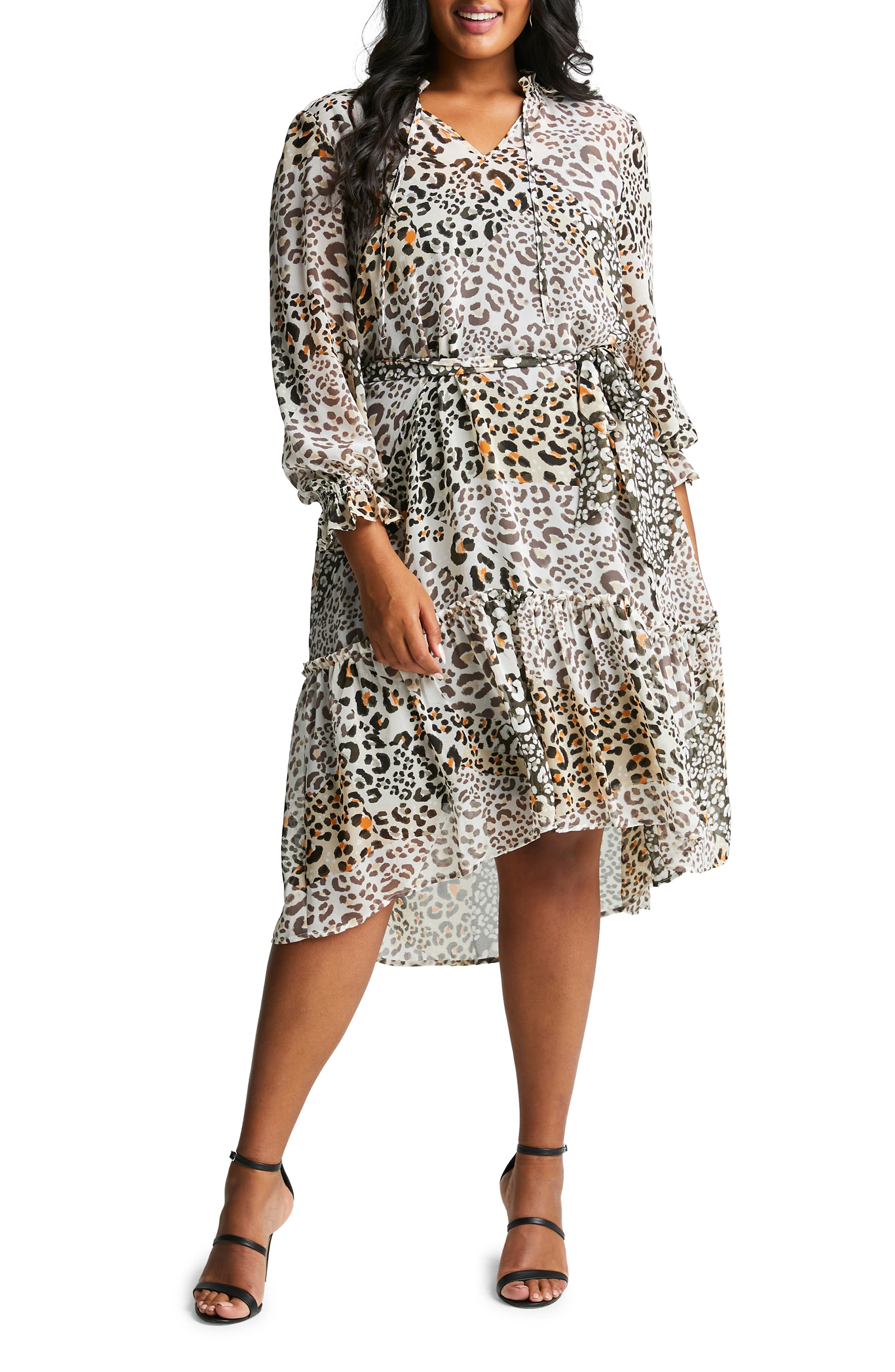 Splice Animal Print A-Line Midi Dress