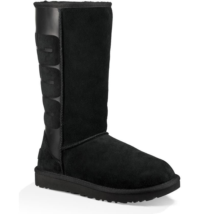 UGG<SUP>®</SUP> Sparkle Classic Tall Boot, Main, color, BLACK SUEDE