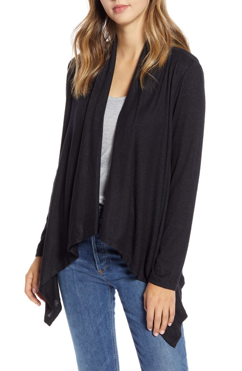 BOBEAU Amie Waterfall Knit Cardigan, Main, color, BLACK