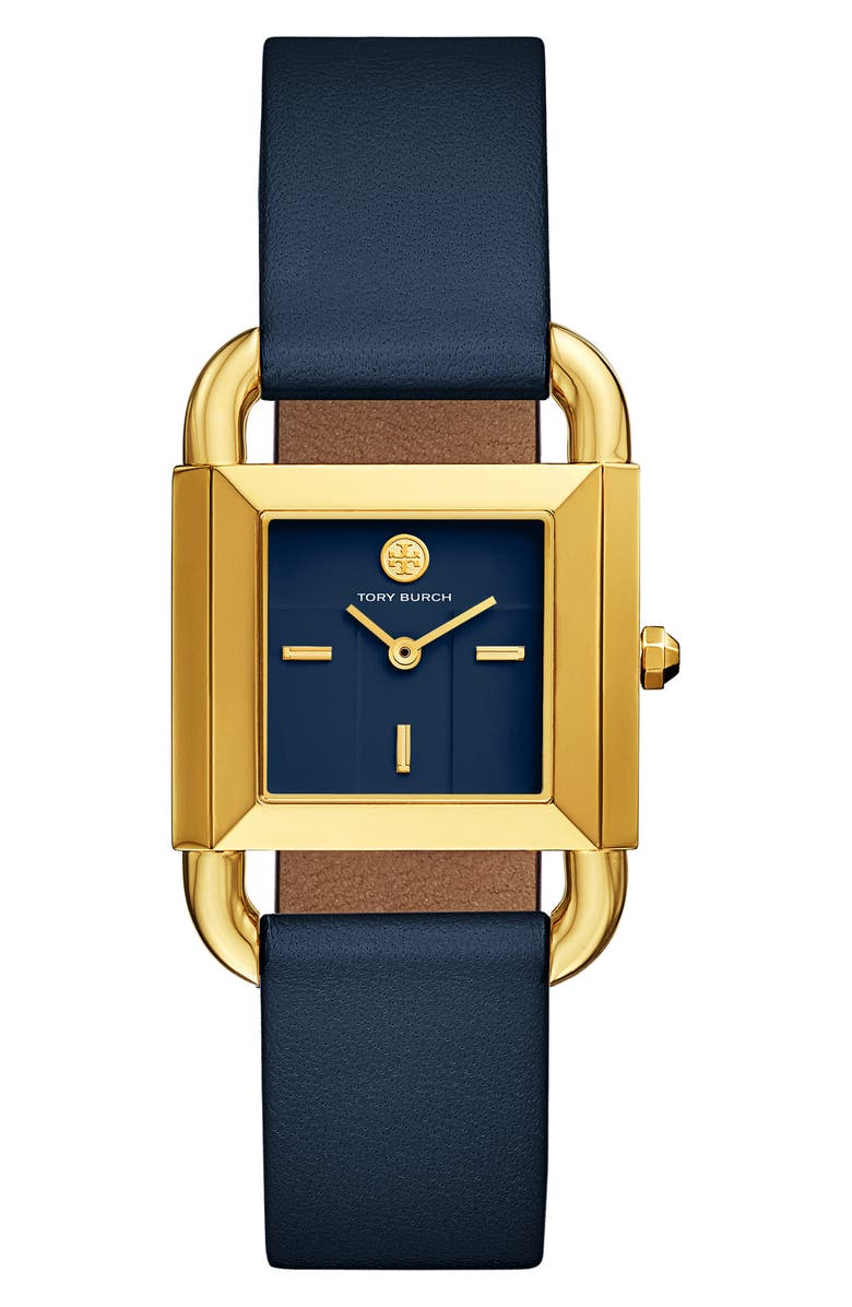 TORY BURCH Phipps Leather Strap Watch, 29mm x 42mm, Main, color, BLUE/ GOLD