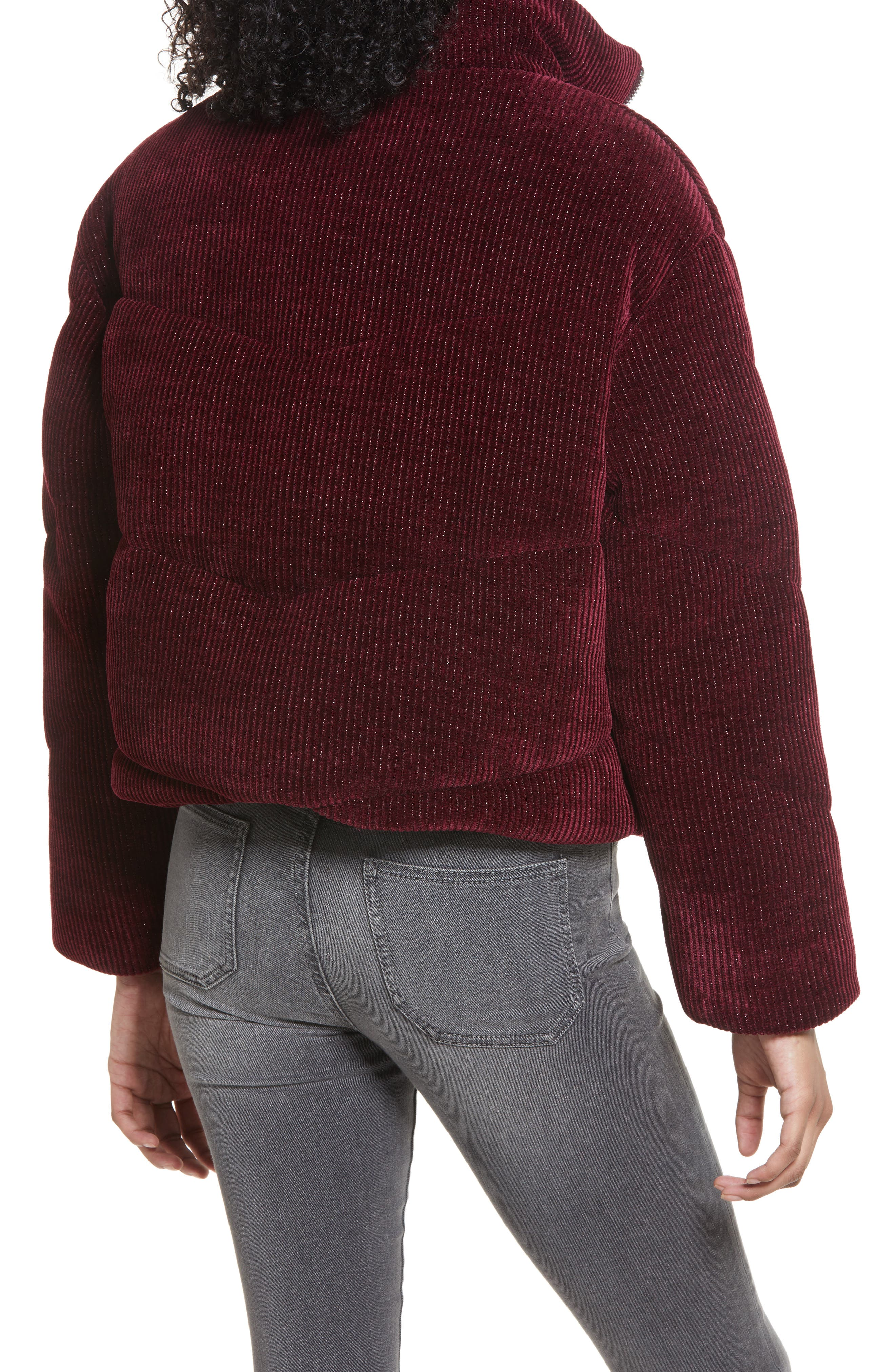 Women's Blanknyc Metallic Corduroy Puffer Jacket, Size X-Large - Burgundy