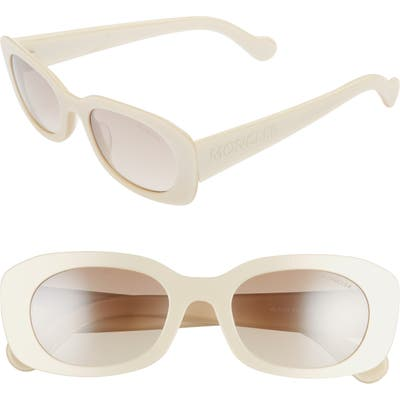 Moncler 52Mm Oval Sunglasses - Metallic Ivory/ Brown Mirror