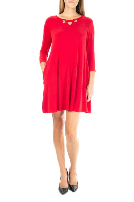 Image of Nina Leonard Hardware Neck Long Sleeve Dress