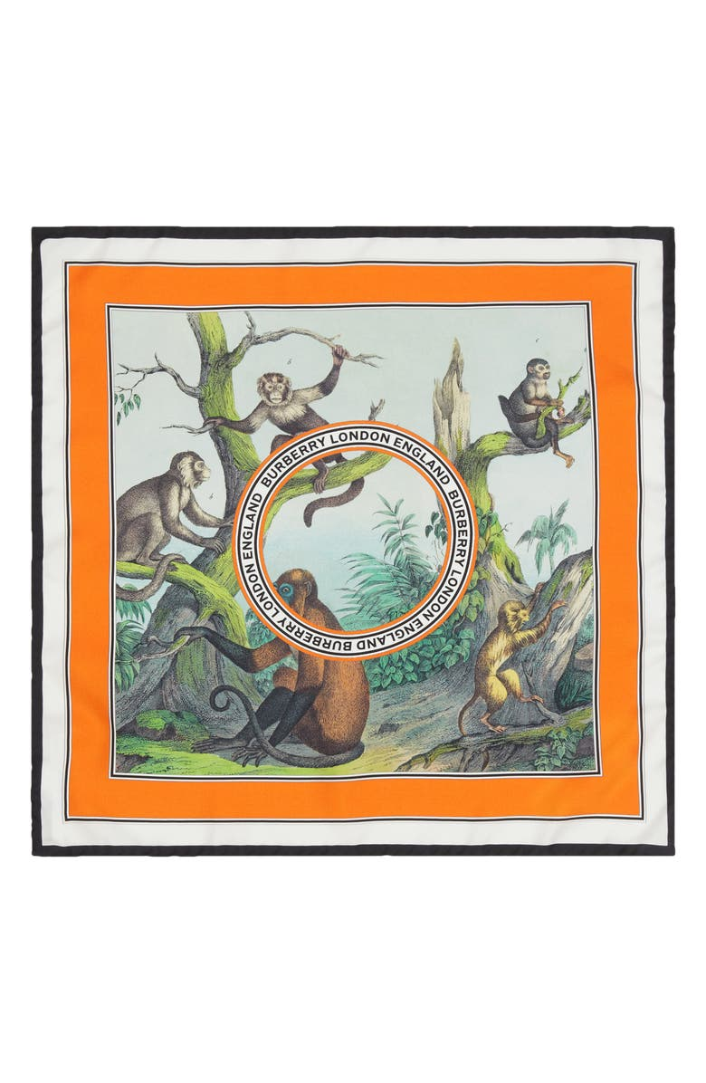 BURBERRY Logo Monkey Print Silk Scarf, Main, color, LIGHT OPAL GREEN