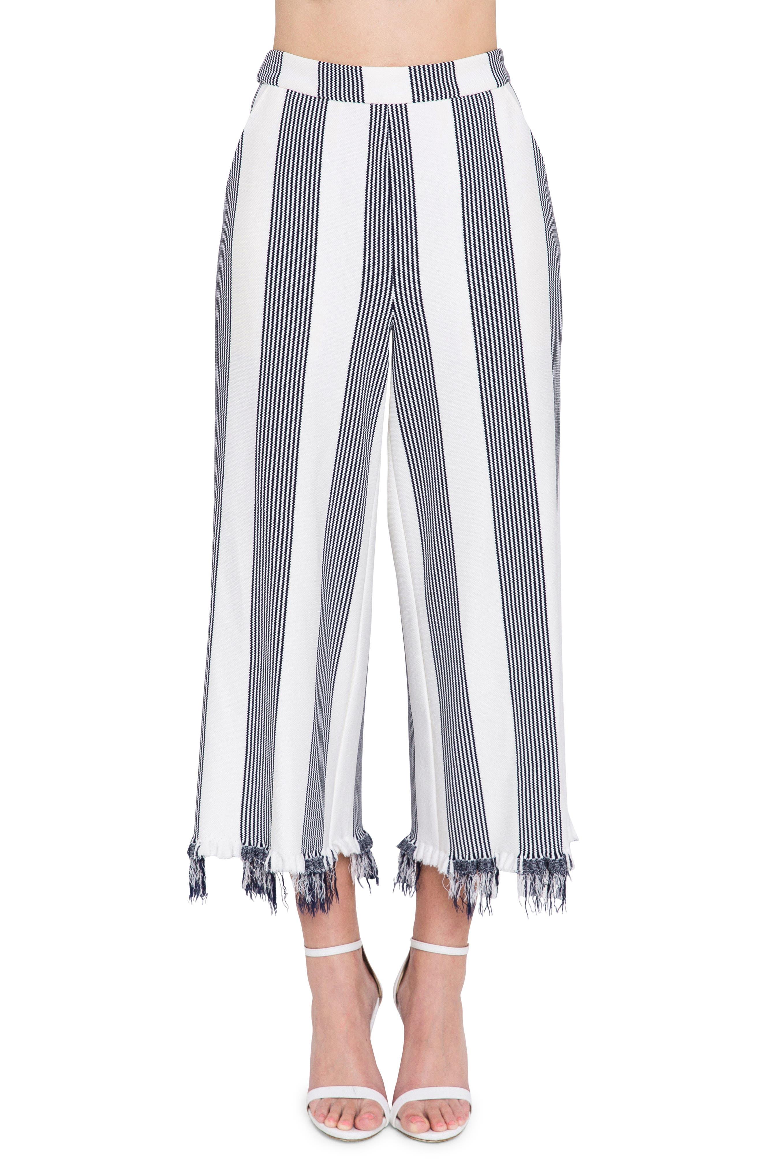 Stripe Fringe Hem Wide Leg Crop Pants