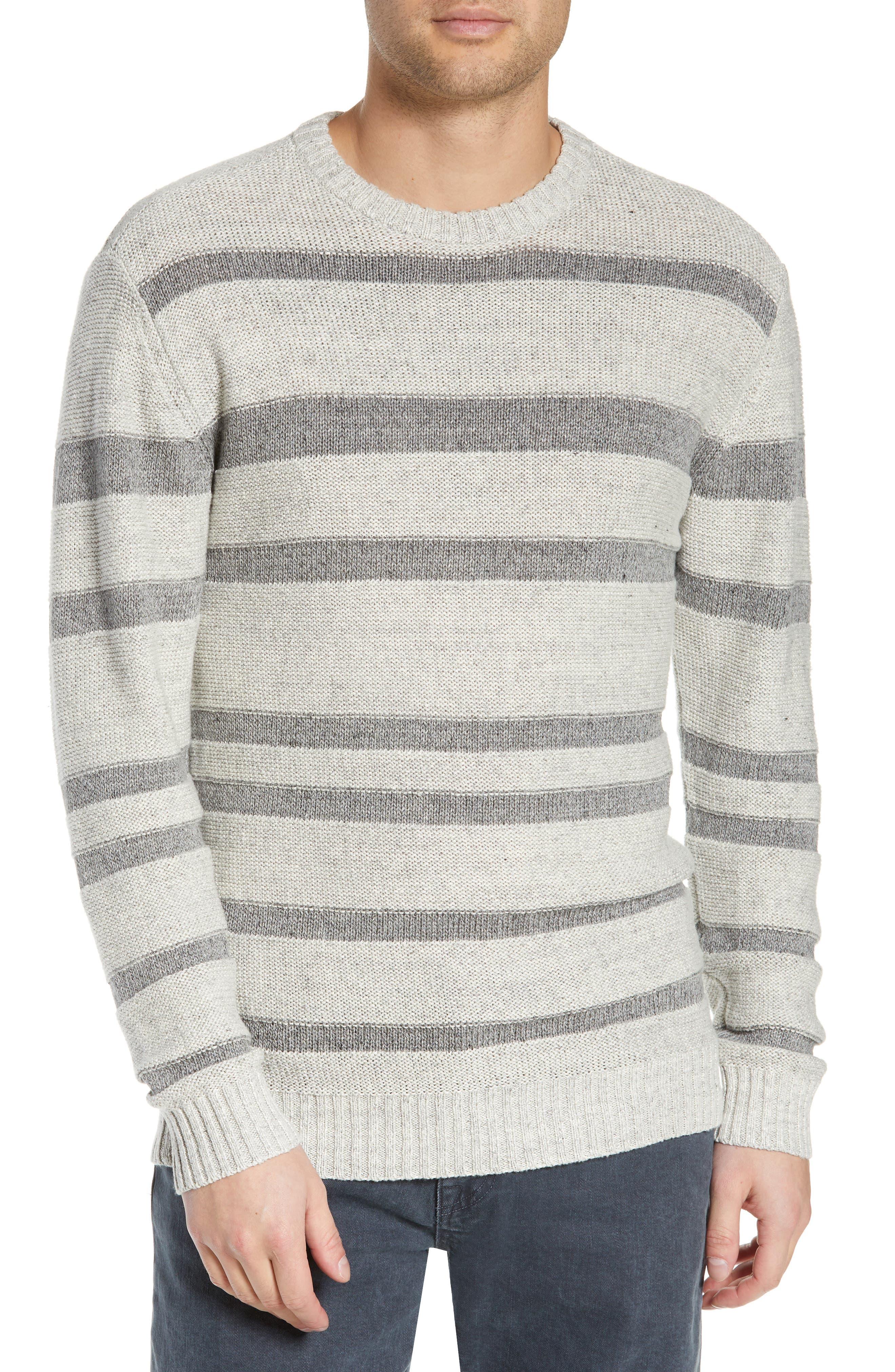 ,                             Gilpin Stripe Linen Blend Crewneck Sweater,                             Main thumbnail 1, color,                             LIGHT GREY MELANGE STRIPE